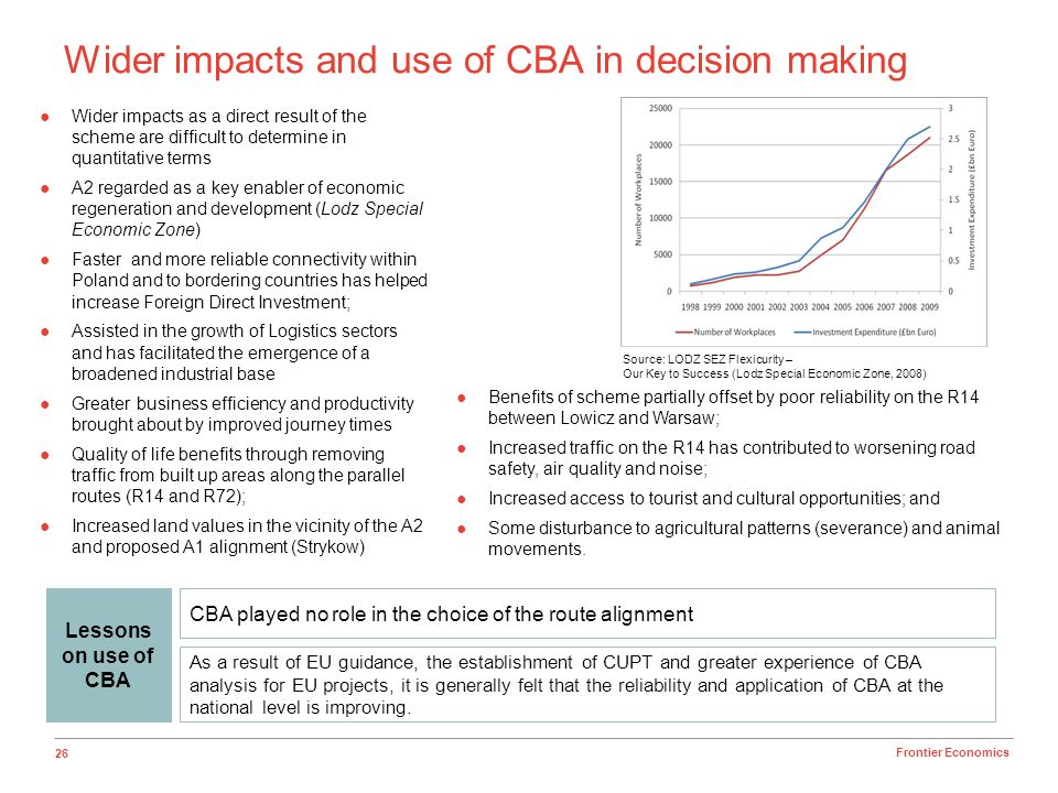 26 Frontier Economics Wider impacts and use of CBA in decision making Wider impacts as a direct result of the scheme are difficult to determine in qua