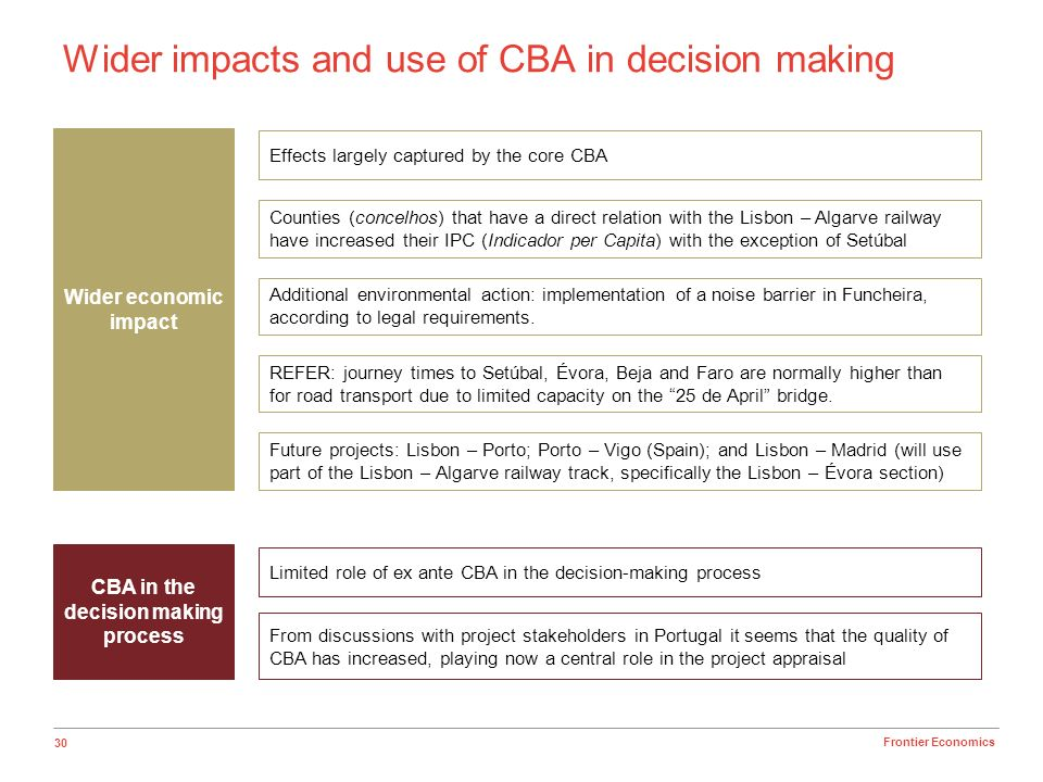 30 Frontier Economics Wider impacts and use of CBA in decision making CBA in the decision making process Limited role of ex ante CBA in the decision-m
