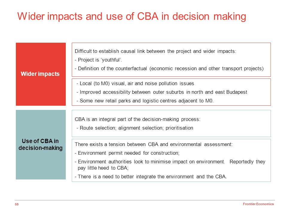 58 Frontier Economics Wider impacts and use of CBA in decision making Wider impacts Use of CBA in decision-making Difficult to establish causal link b