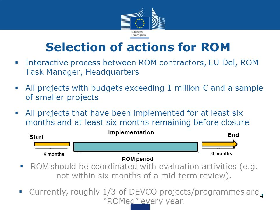 5 Timing of ROM missions The ROM exercise is to be timely and quick.