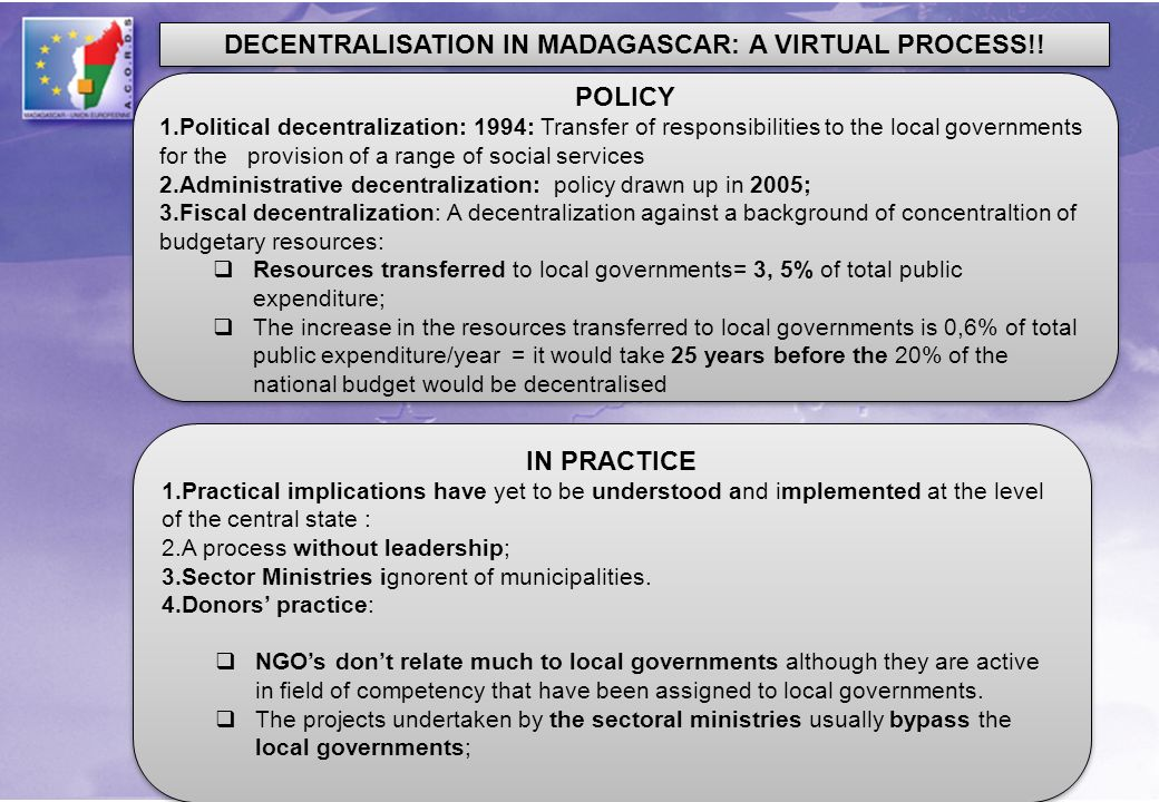 DECENTRALISATION IN MADAGASCAR: A VIRTUAL PROCESS!! POLICY 1.Political decentralization: 1994: Transfer of responsibilities to the local governments f