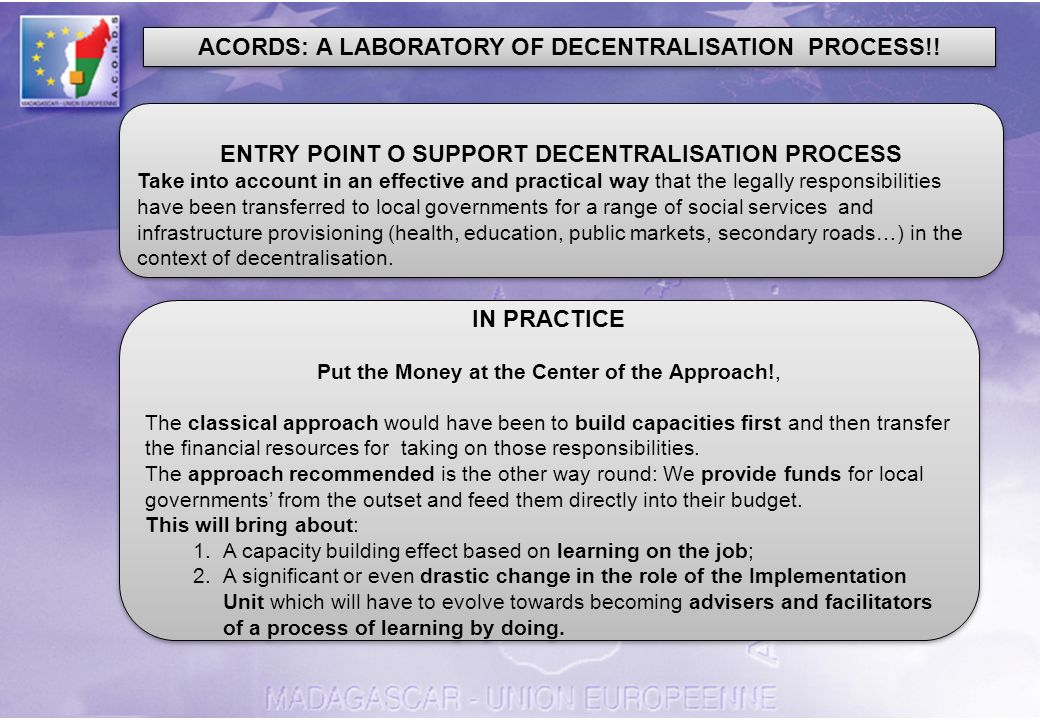 ACORDS: A LABORATORY OF DECENTRALISATION PROCESS!.
