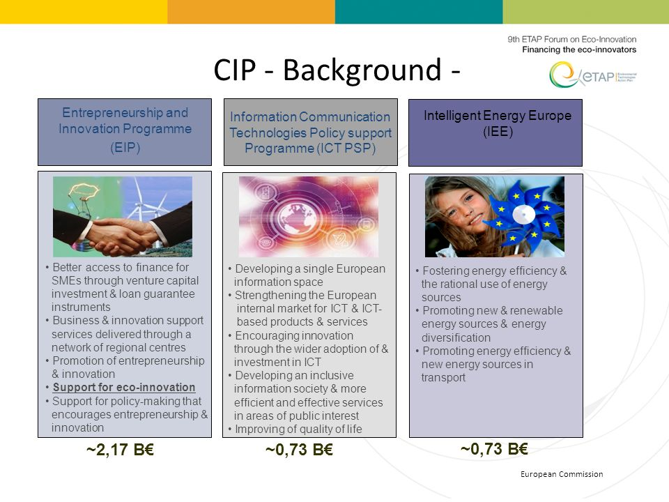 CIP - Background - European Commission Entrepreneurship and Innovation Programme (EIP) Information Communication Technologies Policy support Programme