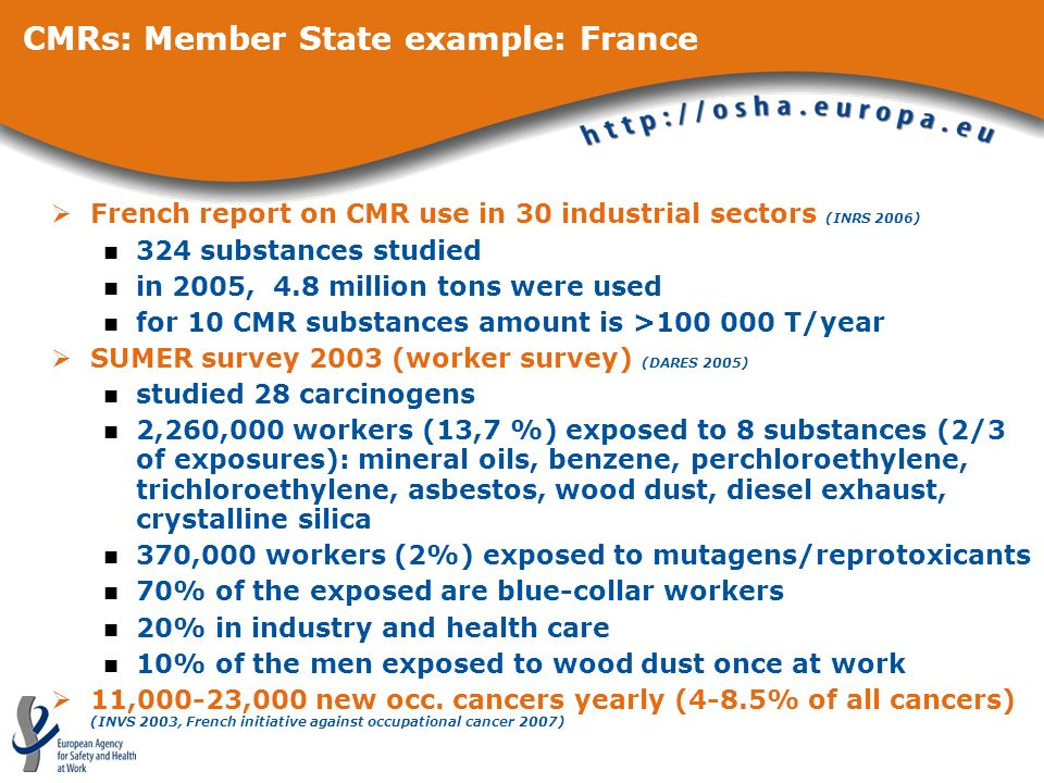 CMRs: Member State example: France French report on CMR use in 30 industrial sectors (INRS 2006) 324 substances studied in 2005, 4.8 million tons were used for 10 CMR substances amount is >100 000 T/year SUMER survey 2003 (worker survey) (DARES 2005) studied 28 carcinogens 2,260,000 workers (13,7 %) exposed to 8 substances (2/3 of exposures): mineral oils, benzene, perchloroethylene, trichloroethylene, asbestos, wood dust, diesel exhaust, crystalline silica 370,000 workers (2%) exposed to mutagens/reprotoxicants 70% of the exposed are blue-collar workers 20% in industry and health care 10% of the men exposed to wood dust once at work 11,000-23,000 new occ.
