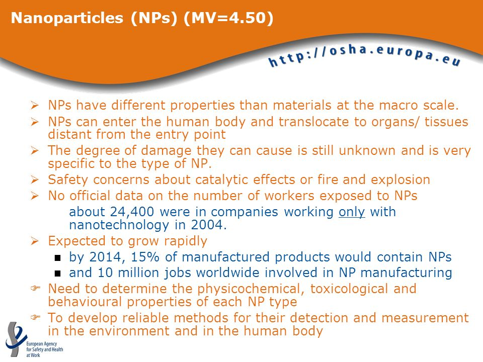 Nanoparticles (NPs) (MV=4.50) NPs have different properties than materials at the macro scale. NPs can enter the human body and translocate to organs/