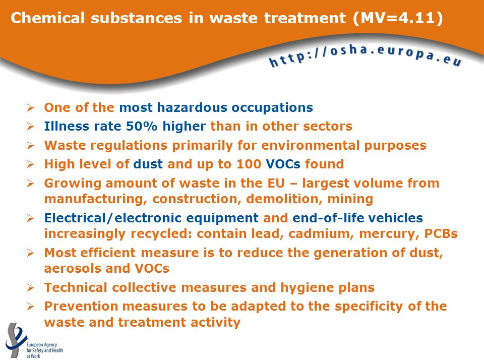 Chemical substances in waste treatment (MV=4.11) One of the most hazardous occupations Illness rate 50% higher than in other sectors Waste regulations