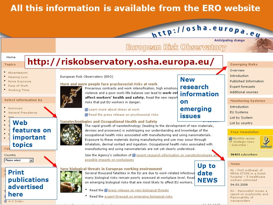 http://riskobservatory.osha.europa.eu/ Up to date NEWS Web features on important topics Print publications advertised here New research information on