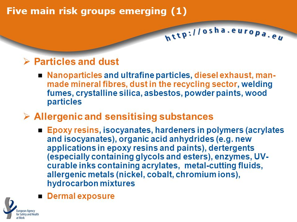 Five main risk groups emerging (1) Particles and dust Nanoparticles and ultrafine particles, diesel exhaust, man- made mineral fibres, dust in the recycling sector, welding fumes, crystalline silica, asbestos, powder paints, wood particles Allergenic and sensitising substances Epoxy resins, isocyanates, hardeners in polymers (acrylates and isocyanates), organic acid anhydrides (e.g.