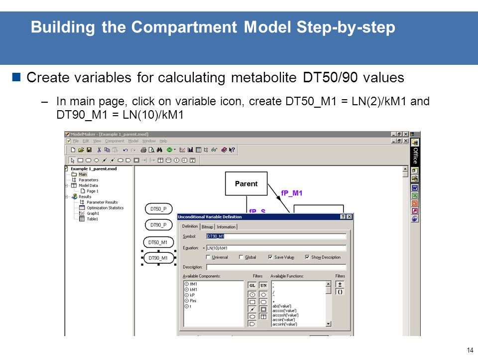 13 Building the Compartment Model Step-by-step Modify flow from parent to sink to account for formation of metabolite(s) (multiply by 1- ffMi) –Here modify fP_S to equation = (1-ffM1)*kP*Parent –Compartment model is now fully defined