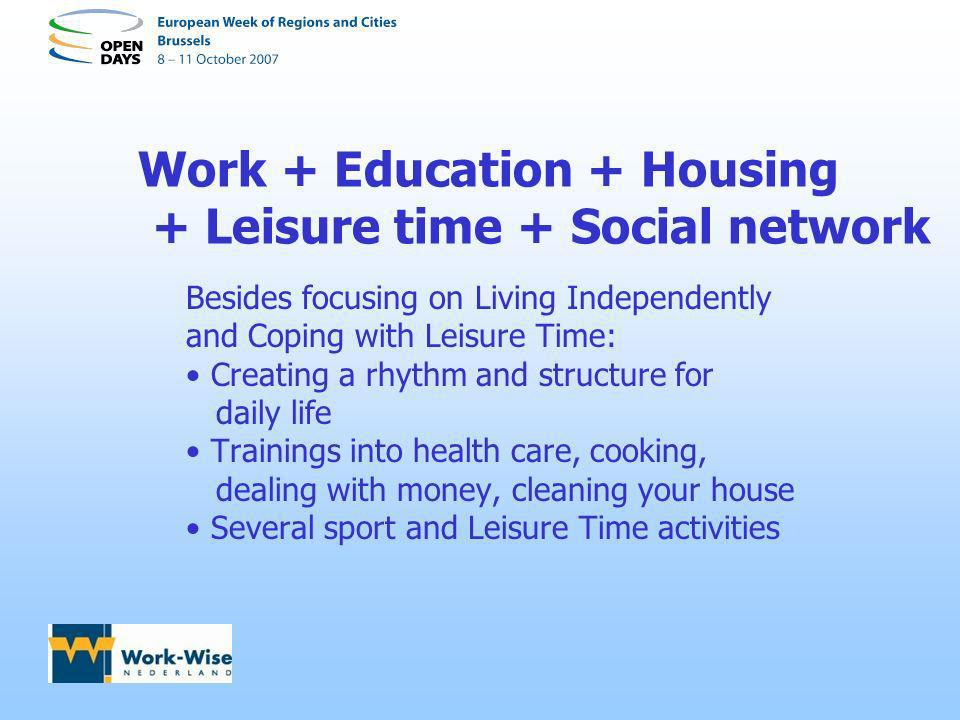 Work + Education + Housing + Leisure time + Social network Besides focusing on Living Independently and Coping with Leisure Time: Creating a rhythm an