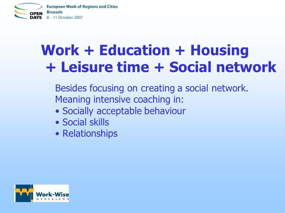 Work + Education + Housing + Leisure time + Social network Besides focusing on creating a social network. Meaning intensive coaching in: Socially acce