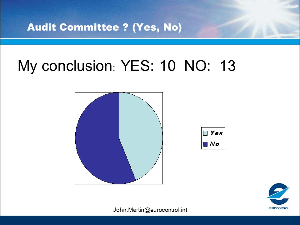 John.Martin@eurocontrol.int Audit Committee (Yes, No) My conclusion : YES: 10 NO: 13