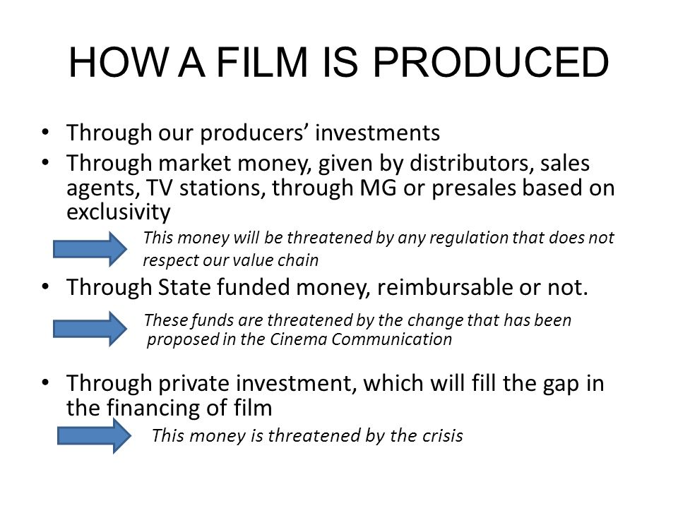 HOW A FILM IS PRODUCED Through our producers investments Through market money, given by distributors, sales agents, TV stations, through MG or presales based on exclusivity This money will be threatened by any regulation that does not respect our value chain Through State funded money, reimbursable or not.