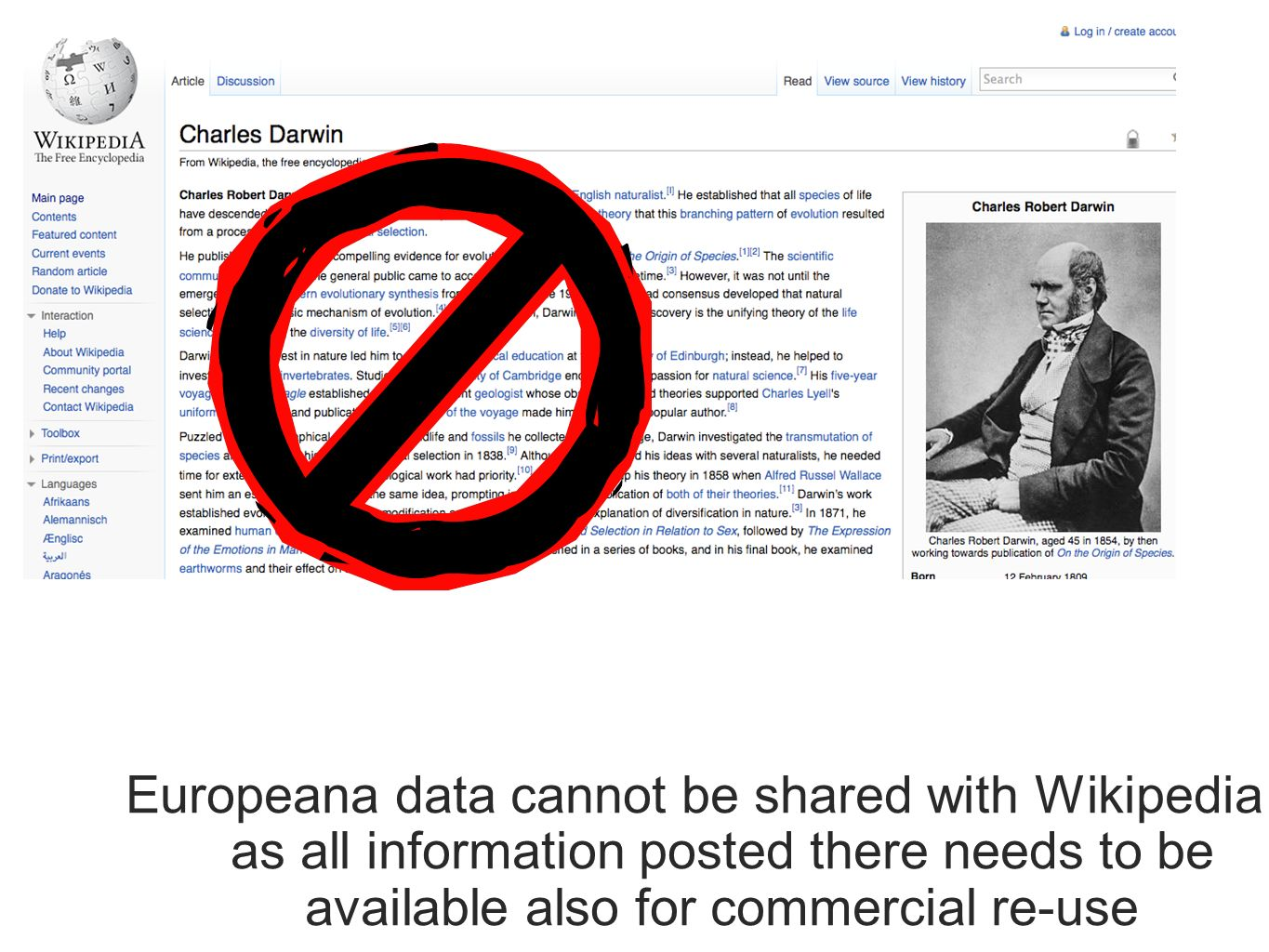 Europeana data cannot be shared with Wikipedia as all information posted there needs to be available also for commercial re-use