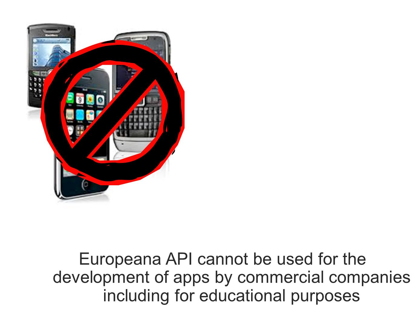 Europeana API cannot be used for the development of apps by commercial companies including for educational purposes