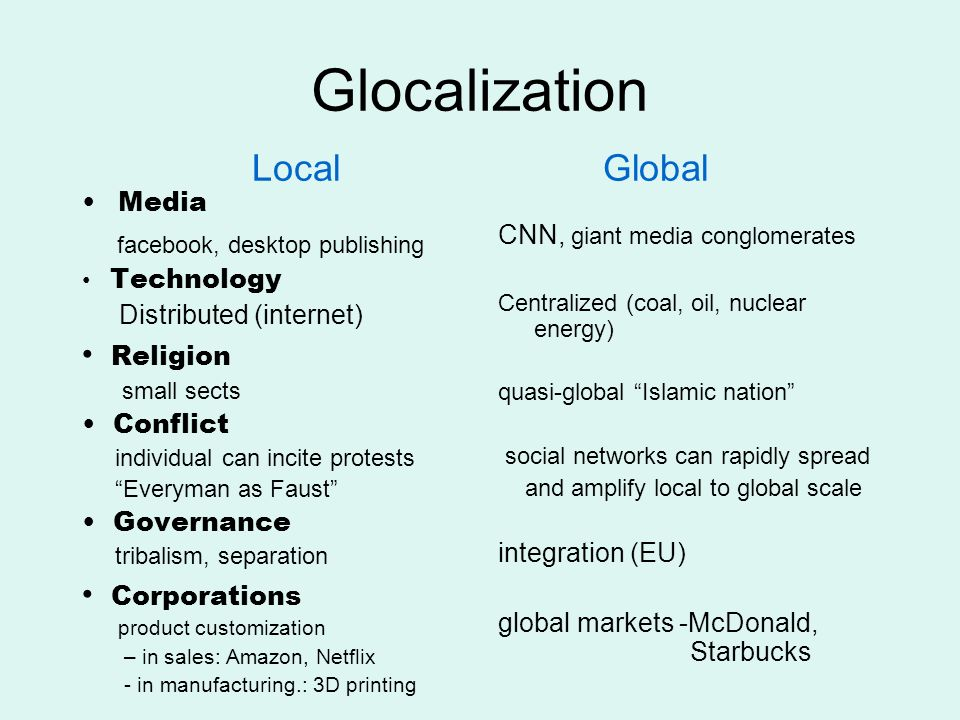 Glocalization Local Global Media facebook, desktop publishing Technology Distributed (internet) Religion small sects Conflict individual can incite pr