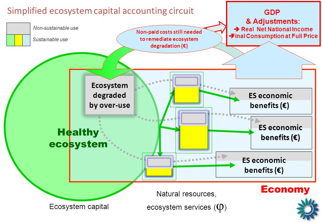 GDP Healthy ecosystem Ecosystem capital Economy Simplified ecosystem capital accounting circuit ES economic benefits () Sustainable use Non-sustainabl