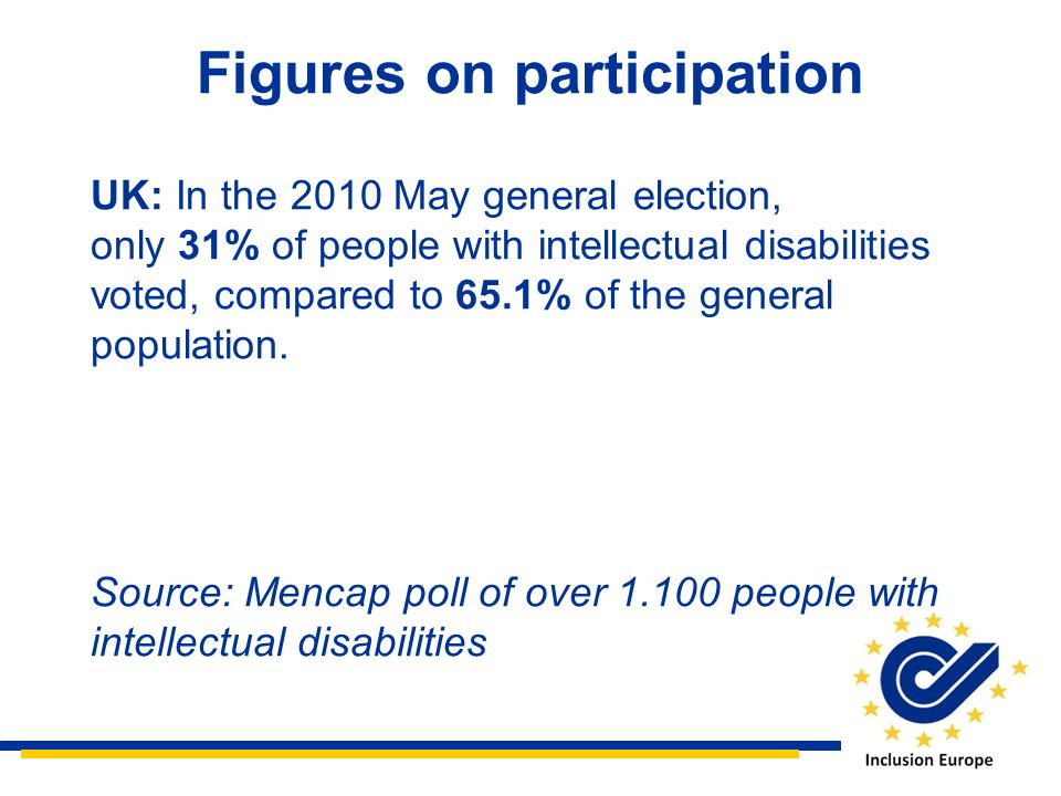 Figures on participation UK: In the 2010 May general election, only 31% of people with intellectual disabilities voted, compared to 65.1% of the gener