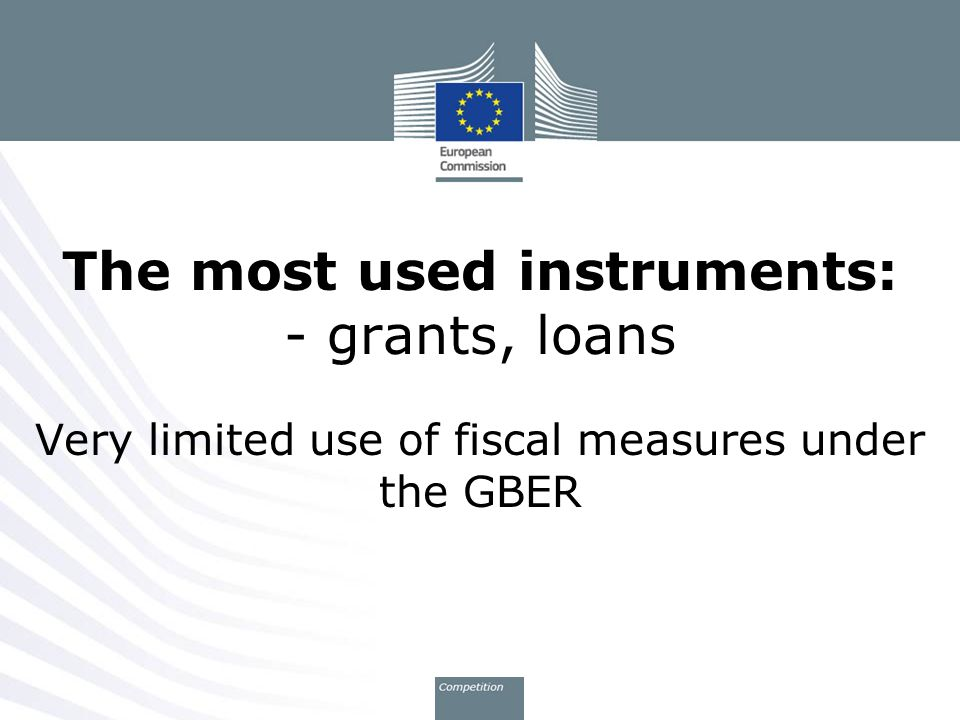 The most used instruments: - grants, loans Very limited use of fiscal measures under the GBER