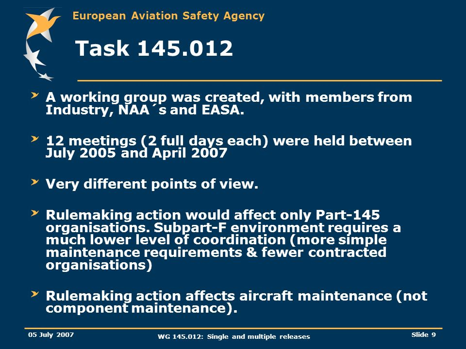 European Aviation Safety Agency 05 July 2007 WG 145.012: Single and multiple releases Slide 9 Task 145.012 A working group was created, with members f