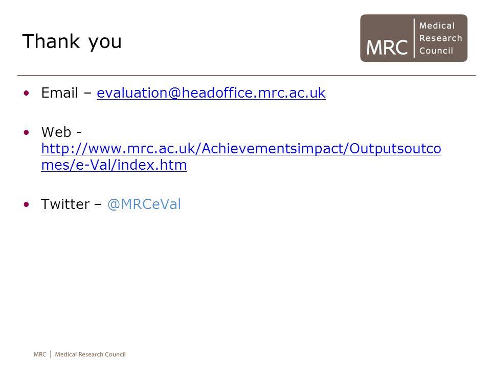 Thank you Email – evaluation@headoffice.mrc.ac.ukevaluation@headoffice.mrc.ac.uk Web - http://www.mrc.ac.uk/Achievementsimpact/Outputsoutco mes/e-Val/