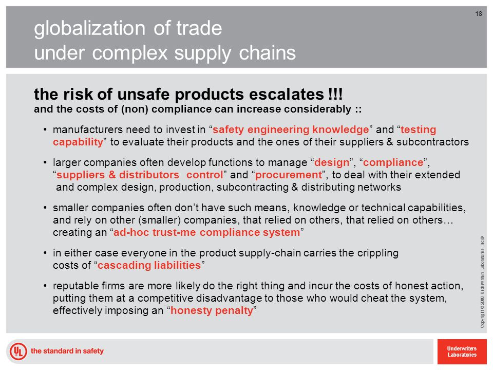 18 Underwriters Laboratories Copyright © 2010 Underwriters Laboratories Inc.® 18 globalization of trade under complex supply chains the risk of unsafe