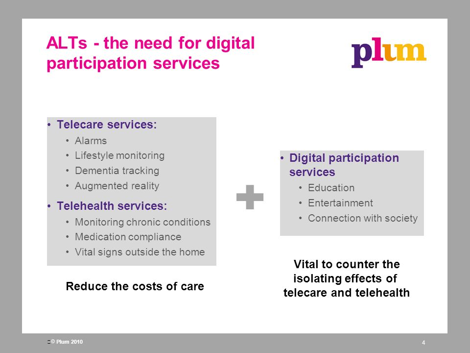 Plum 2010 ALTs - the need for digital participation services Telecare services: Alarms Lifestyle monitoring Dementia tracking Augmented reality Telehealth services: Monitoring chronic conditions Medication compliance Vital signs outside the home 4 Reduce the costs of care Digital participation services Education Entertainment Connection with society Vital to counter the isolating effects of telecare and telehealth