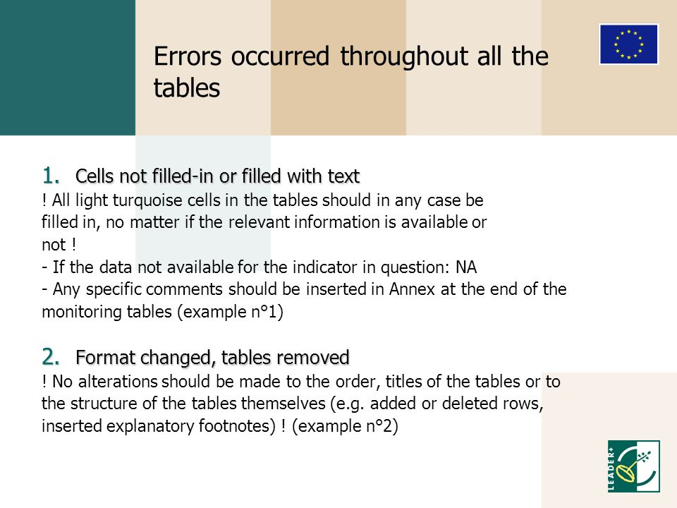 Errors occurred throughout all the tables 1. Cells not filled-in or filled with text .