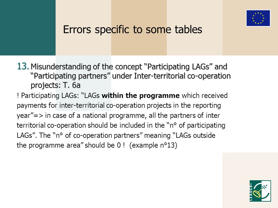 Errors specific to some tables 13.