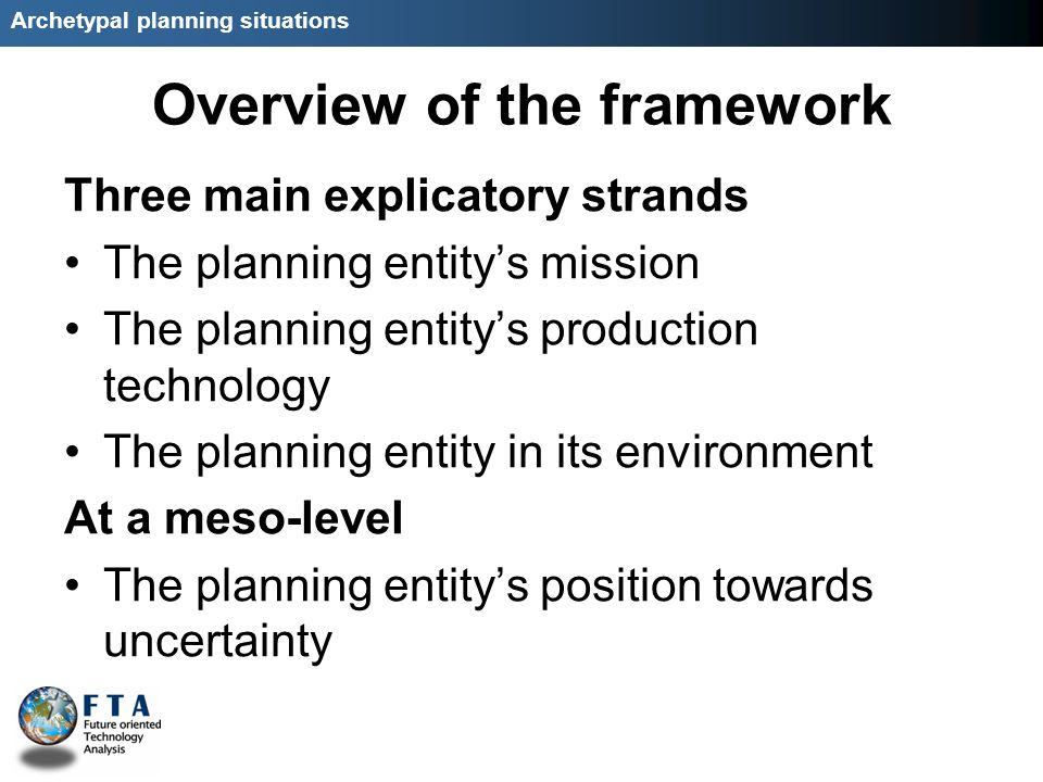 Archetypal planning situations Overview of the framework Three main explicatory strands The planning entitys mission The planning entitys production technology The planning entity in its environment At a meso-level The planning entitys position towards uncertainty
