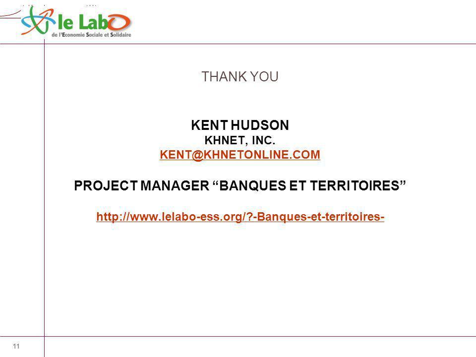 K H N E T KENT HUDSON KHNET, INC. KENT@KHNETONLINE.COM PROJECT MANAGER BANQUES ET TERRITOIRES http://www.lelabo-ess.org/?-Banques-et-territoires- KENT