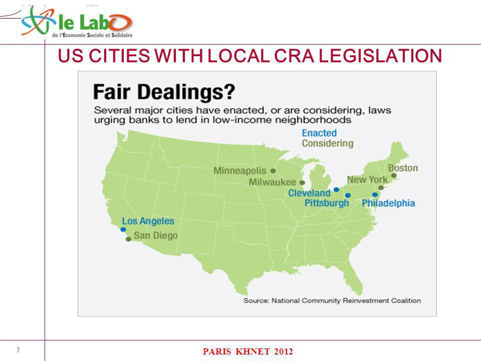 K H N E T 7 US CITIES WITH LOCAL CRA LEGISLATION PARIS KHNET 2012