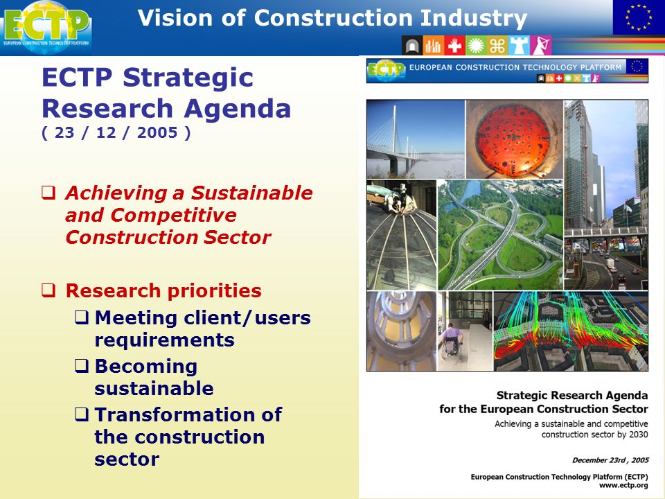 STRATEGIC RESEARCH AGENDA Vision of Construction Industry 16 ECTP Strategic Research Agenda ( 23 / 12 / 2005 ) Achieving a Sustainable and Competitive Construction Sector Research priorities Meeting client/users requirements Becoming sustainable Transformation of the construction sector