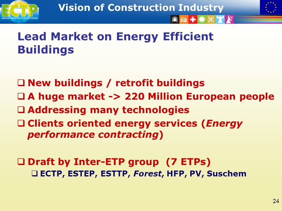 STRATEGIC RESEARCH AGENDA Vision of Construction Industry 24 Lead Market on Energy Efficient Buildings New buildings / retrofit buildings A huge market -> 220 Million European people Addressing many technologies Clients oriented energy services (Energy performance contracting) Draft by Inter-ETP group (7 ETPs) ECTP, ESTEP, ESTTP, Forest, HFP, PV, Suschem