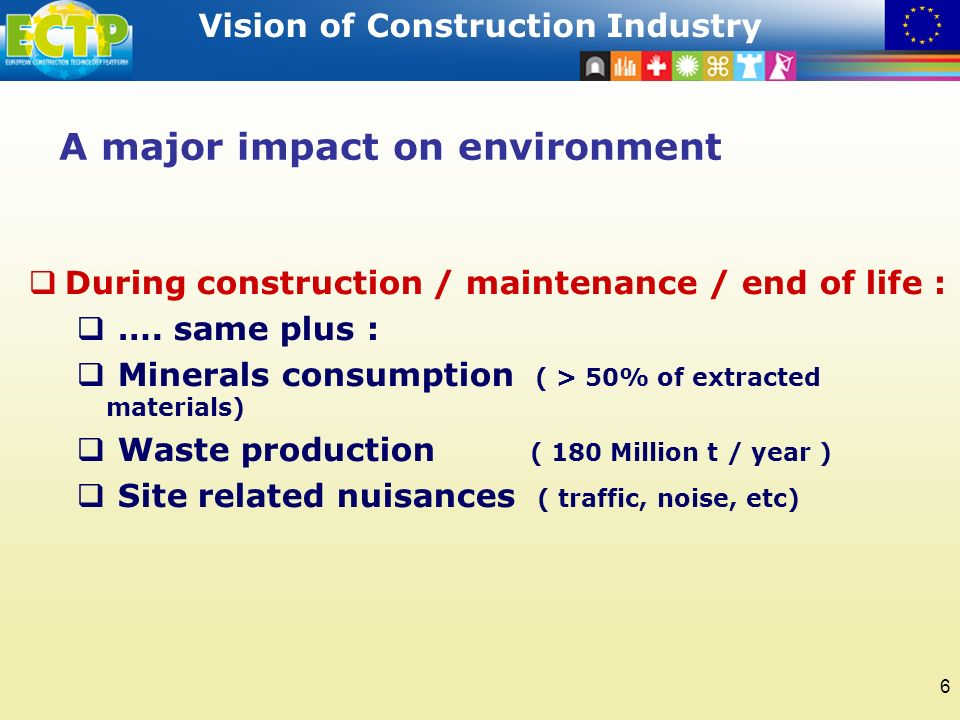 STRATEGIC RESEARCH AGENDA Vision of Construction Industry 6 A major impact on environment During construction / maintenance / end of life : ….