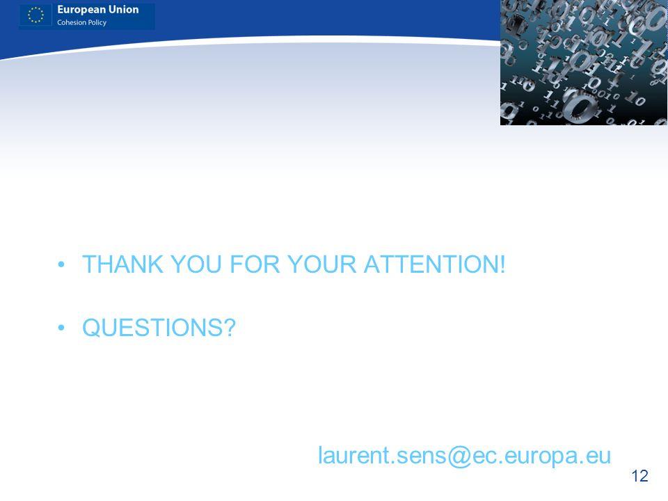 12 THANK YOU FOR YOUR ATTENTION! QUESTIONS? laurent.sens@ec.europa.eu