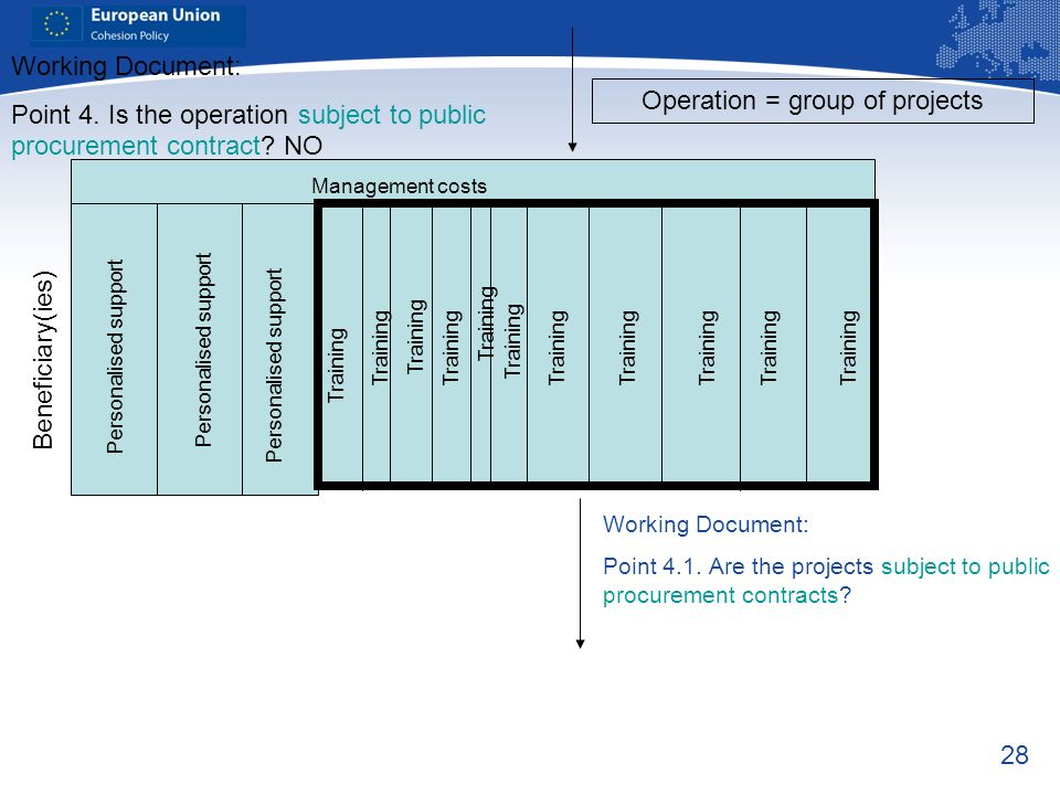 28 Working Document: Point 4.1. Are the projects subject to public procurement contracts? Beneficiary(ies) Working Document: Point 4. Is the operation