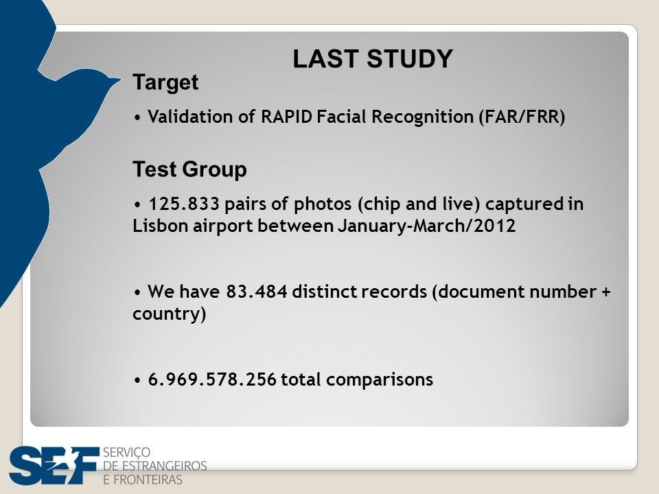 LAST STUDY Target Validation of RAPID Facial Recognition (FAR/FRR) Test Group 125.833 pairs of photos (chip and live) captured in Lisbon airport betwe
