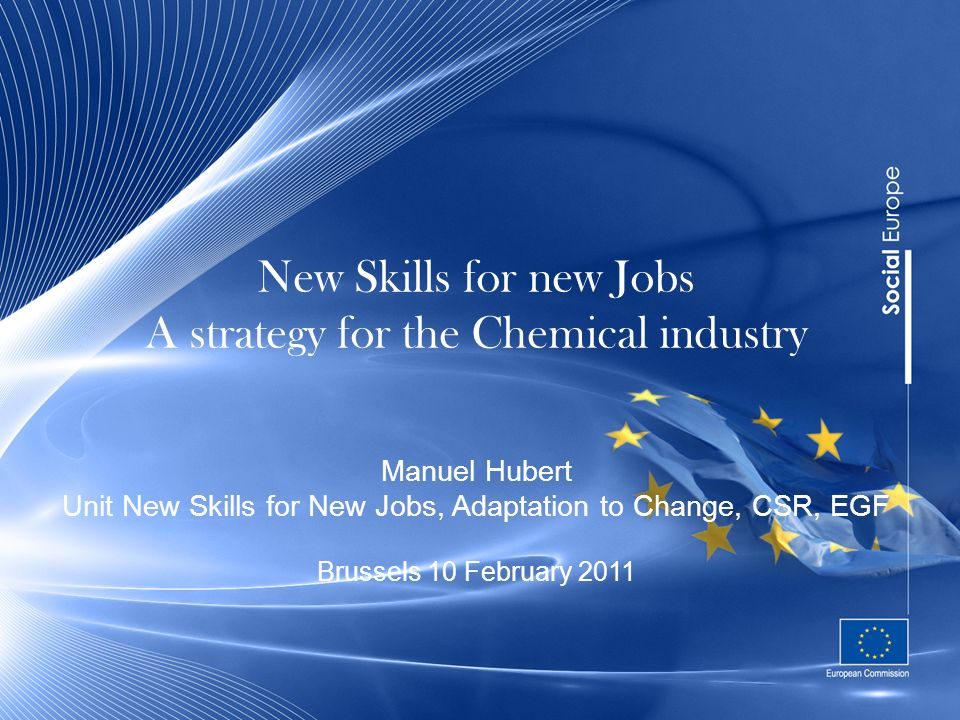 New Skills for new Jobs A strategy for the Chemical industry Manuel Hubert Unit New Skills for New Jobs, Adaptation to Change, CSR, EGF Brussels 10 February 2011
