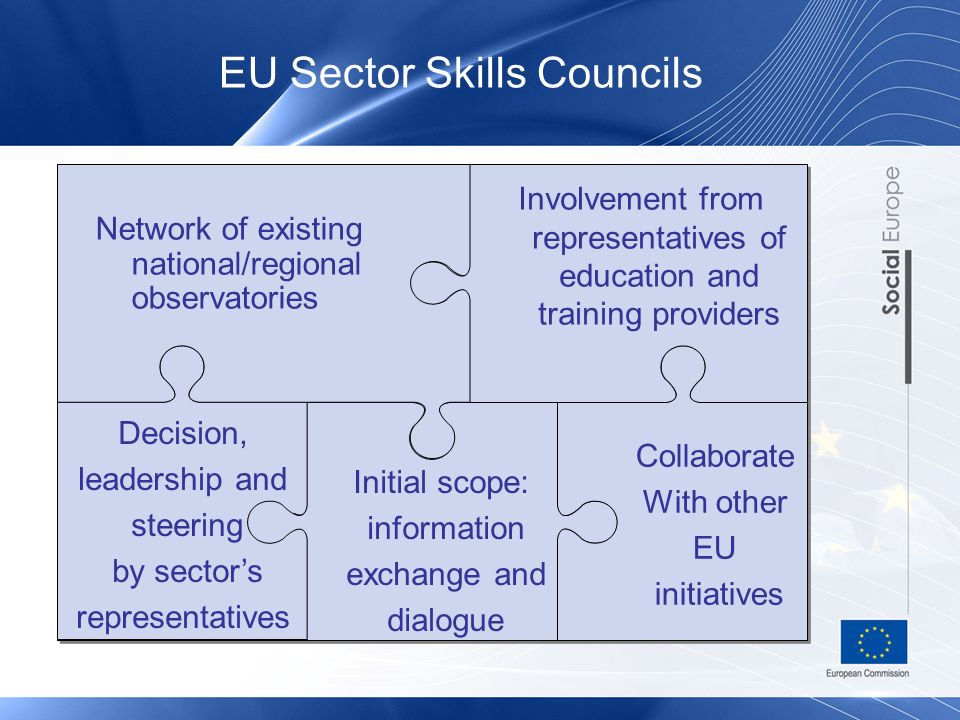EU Sector Skills Councils Decision, leadership and steering by sectors representatives Initial scope: information exchange and dialogue Collaborate With other EU initiatives Network of existing national/regional observatories Involvement from representatives of education and training providers