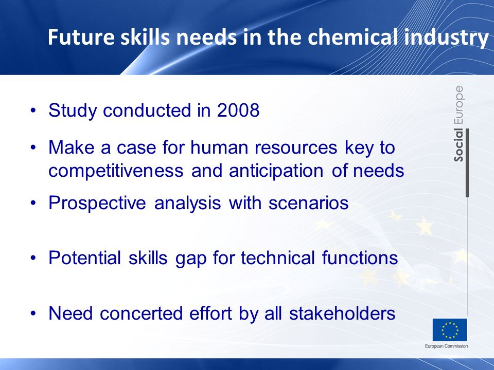 Future skills needs in the chemical industry Study conducted in 2008 Make a case for human resources key to competitiveness and anticipation of needs Prospective analysis with scenarios Potential skills gap for technical functions Need concerted effort by all stakeholders