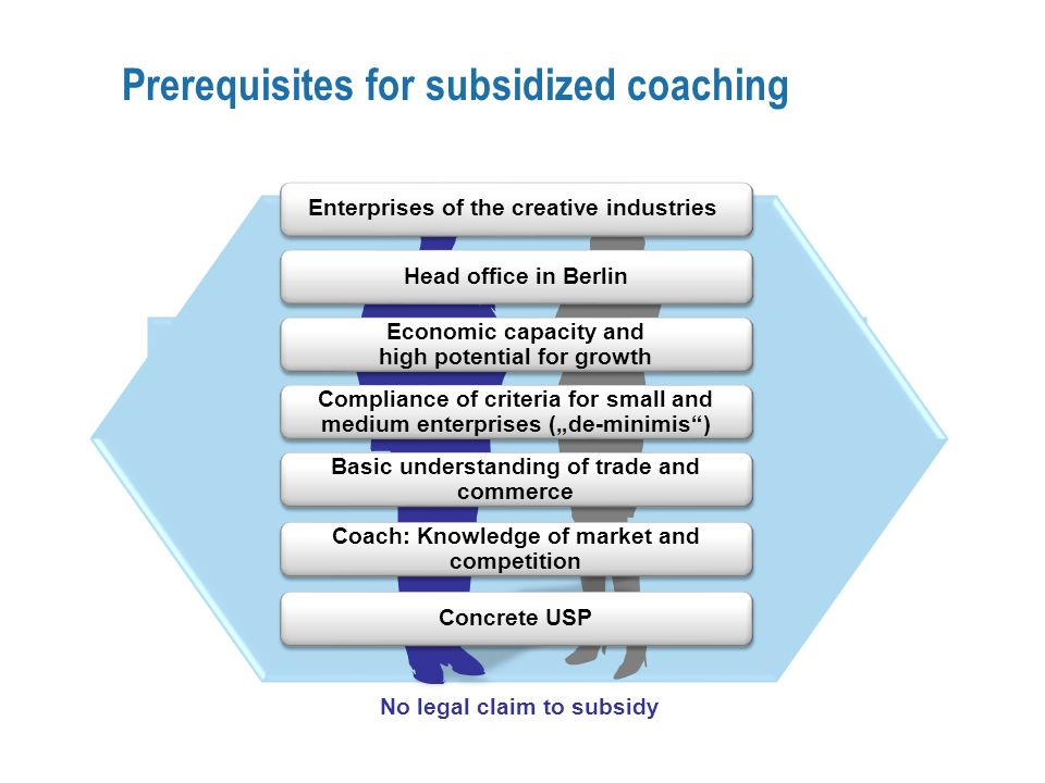 Prerequisites for subsidized coaching No legal claim to subsidy Fördervoraussetzungen Basic understanding of trade and commerce Coach: Knowledge of market and competition Head office in Berlin Economic capacity and high potential for growth Compliance of criteria for small and medium enterprises (de-minimis) Enterprises of the creative industries Concrete USP