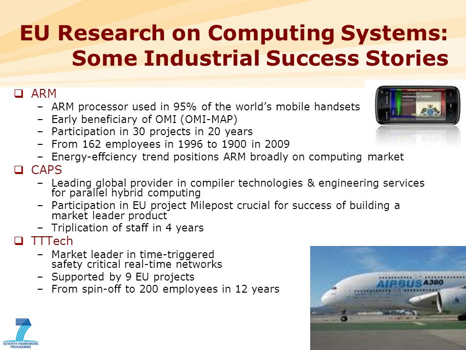 11 EU Research on Computing Systems: Some Industrial Success Stories ARM –ARM processor used in 95% of the worlds mobile handsets –Early beneficiary of OMI (OMI-MAP) –Participation in 30 projects in 20 years –From 162 employees in 1996 to 1900 in 2009 –Energy-effciency trend positions ARM broadly on computing market CAPS –Leading global provider in compiler technologies & engineering services for parallel hybrid computing –Participation in EU project Milepost crucial for success of building a market leader product –Triplication of staff in 4 years TTTech –Market leader in time-triggered safety critical real-time networks –Supported by 9 EU projects –From spin-off to 200 employees in 12 years