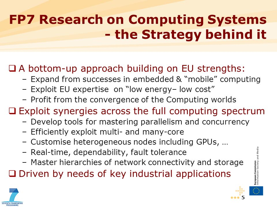 5 FP7 Research on Computing Systems - the Strategy behind it A bottom-up approach building on EU strengths: –Expand from successes in embedded & mobile computing –Exploit EU expertise on low energy– low cost –Profit from the convergence of the Computing worlds Exploit synergies across the full computing spectrum –Develop tools for mastering parallelism and concurrency –Efficiently exploit multi- and many-core –Customise heterogeneous nodes including GPUs, … –Real-time, dependability, fault tolerance –Master hierarchies of network connectivity and storage Driven by needs of key industrial applications