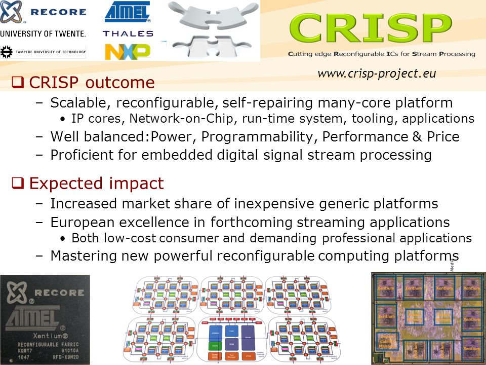 8 CRISP outcome –Scalable, reconfigurable, self-repairing many-core platform IP cores, Network-on-Chip, run-time system, tooling, applications –Well balanced:Power, Programmability, Performance & Price –Proficient for embedded digital signal stream processing Expected impact –Increased market share of inexpensive generic platforms –European excellence in forthcoming streaming applications Both low-cost consumer and demanding professional applications –Mastering new powerful reconfigurable computing platforms www.crisp-project.eu