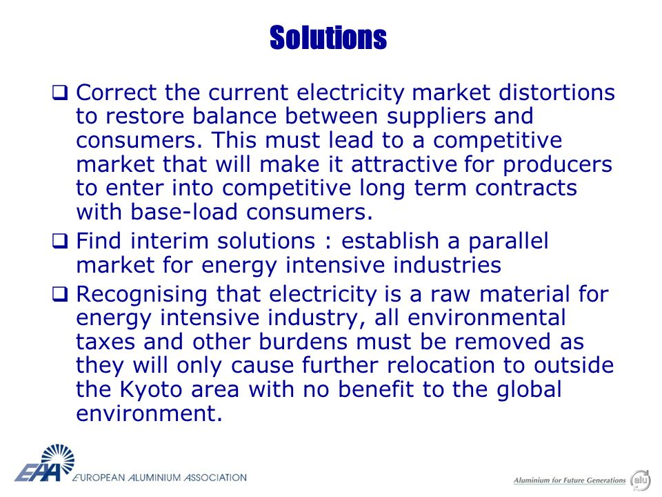 Solutions Correct the current electricity market distortions to restore balance between suppliers and consumers.
