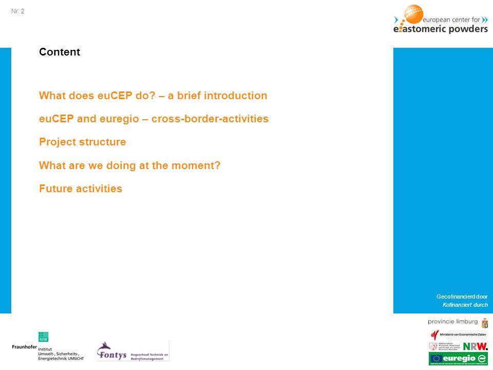 Nr.2 Gecofinancierd door Kofinanziert durch Content What does euCEP do.