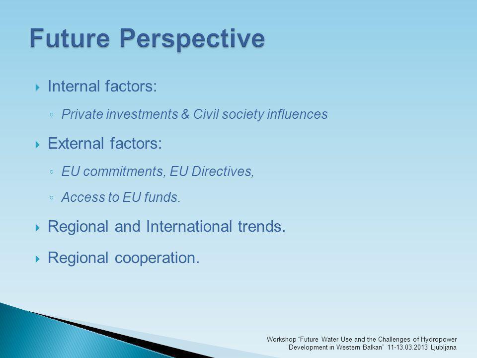 Internal factors: Private investments & Civil society influences External factors: EU commitments, EU Directives, Access to EU funds. Regional and Int