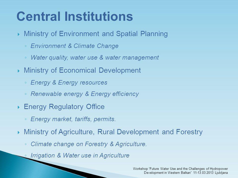 Central Institutions Ministry of Environment and Spatial Planning Environment & Climate Change Water quality, water use & water management Ministry of