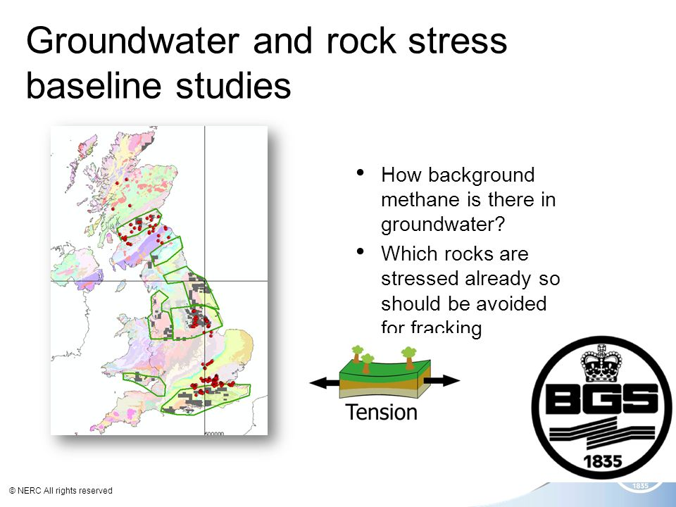 © NERC All rights reserved Groundwater and rock stress baseline studies How background methane is there in groundwater.